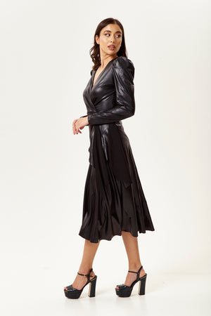 PU Wrap Midi Dress in Black with Long Sleeves