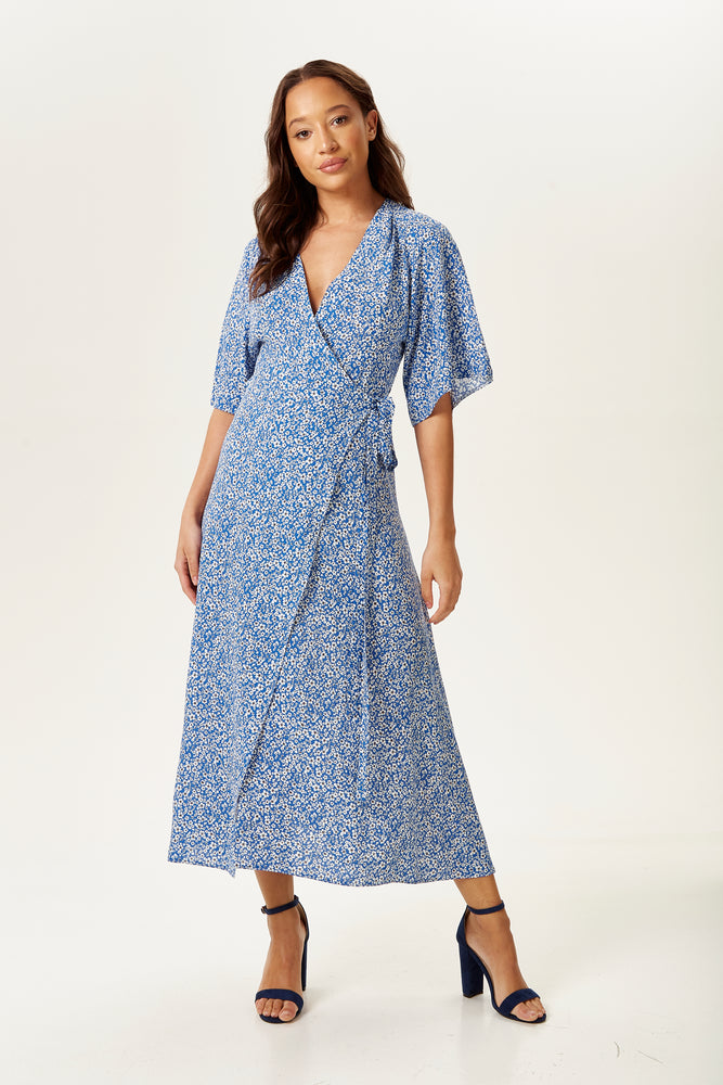 Blue Floral Midi Wrap Dress with Kimono Sleeves