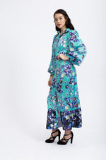 Liquorish Maxi Shirt Dress with Long Sleeve and Contrast Hem Frill in Teal Floral