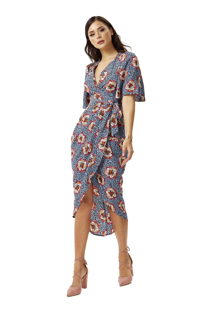 Divine Grace Midi Wrap Dress In Floral & Leopard Print