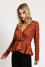 Liquorish Fake Wrap Top in Red with Gold Polka Dot