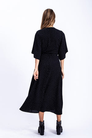 Liquorish Midi Wrap Dress In Black Polka Dot Print