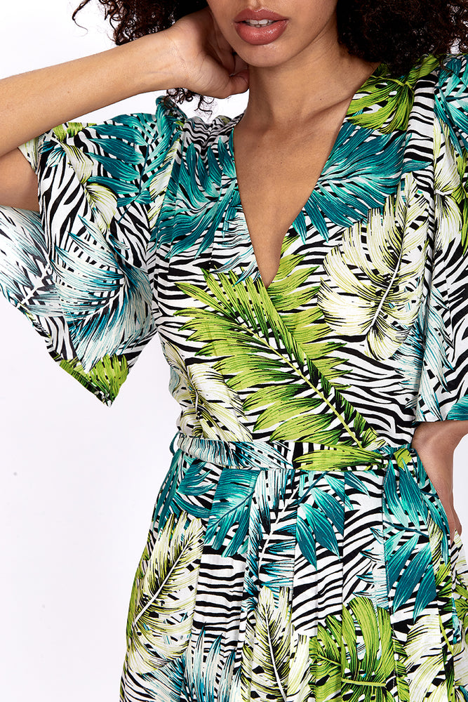 Divine Grace Midi Dress in Zebra & Green Leaf Print