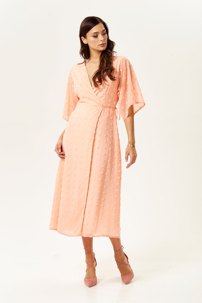 Coral Maxi Wrap Dress with Kimono Sleeves