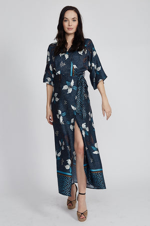 Divine Grace Maxi Wrap Dress In Large Floral and Polka Dot Print