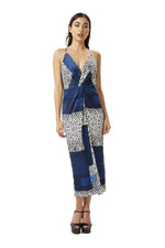 Cami Midi Dress in Blue Square Animal Print