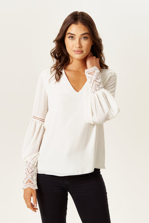 Divine Grace V Neck White Top with Lace Details