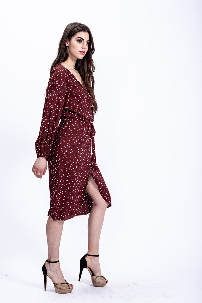 Liquorish Midi Wrap Dress in Burgundy Bird Print