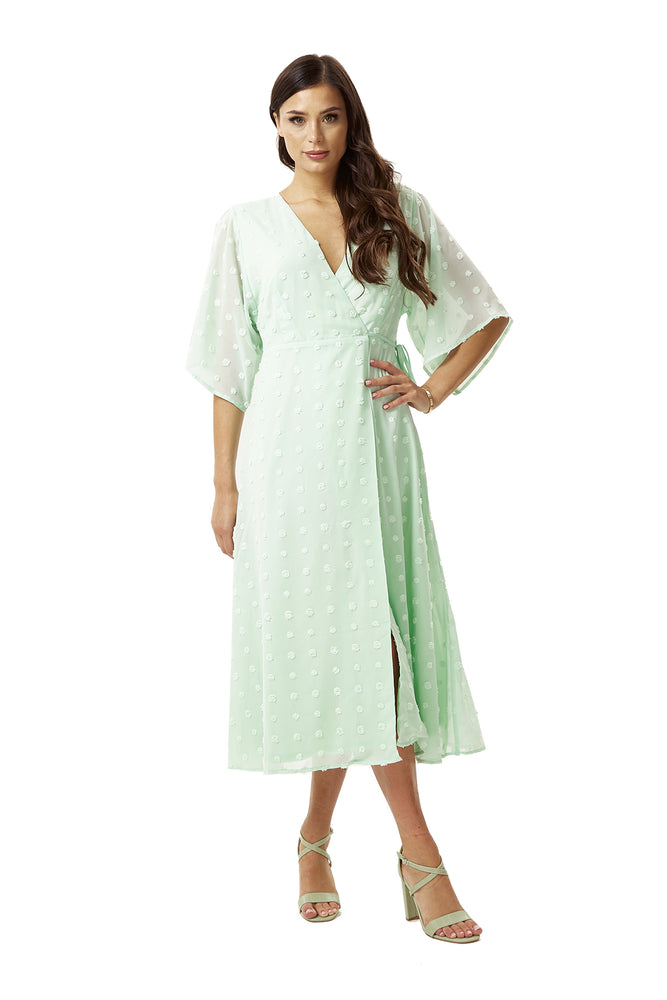 Mint Green Maxi Wrap Dress with Kimono Sleeves
