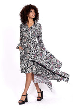 Divine Grace Midi Shirt Dress In Floral and Animal Print