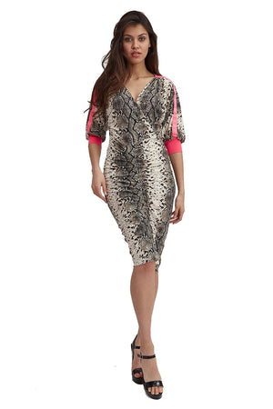 Divine Grace Jersey Dress In Snake Skin Print