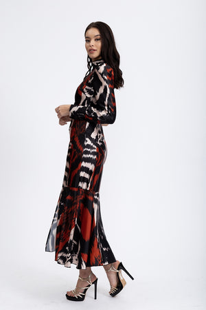 Liquorish One Sleeve Maxi Dress In Black & Red Abstract Animal Print