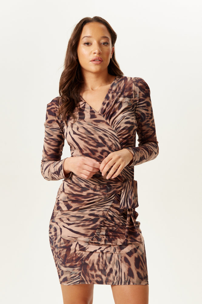 Divine Grace Animal Print Mini Dress with Long Sleeves