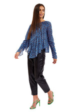 Liquorish Blue Animal Print Top with Smock Asymmetric Frills