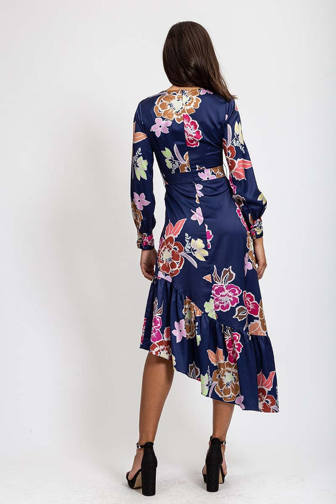 Liquorish Asymmetric Midi Dress In Navy & Fuschia Floral Print