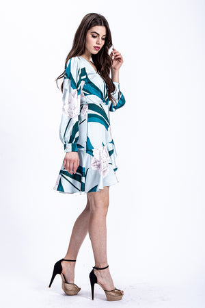 Liquorish Mini Wrap Dress In Overscale Mint Floral Print