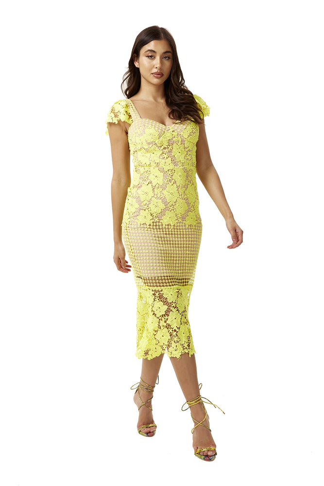 Liquorish Lace Hot Yellow With Contrast Nude lining Midi Dress