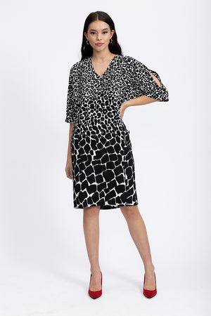 Divine Grace Relaxed Fit Shift Dress In Black & White Animal Print