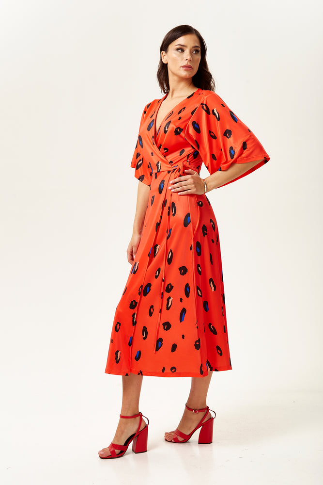 Red Animal Print Wrap Midi Dress