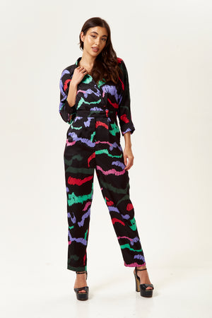 Liquorish Abstract Print Jumpsuit in Black Base with Bat Sleeves