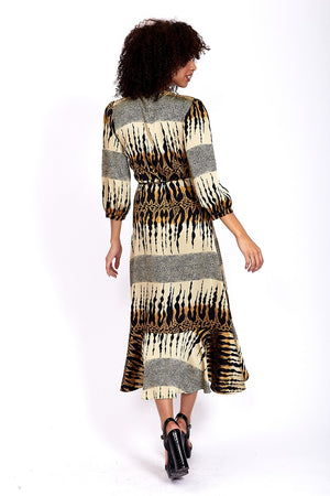 Divine Grace Maxi Wrap Dress In Layered Abstract Print