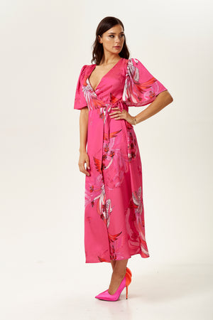 Fuchsia Floral Maxi Wrap Dress with Short Sleeves
