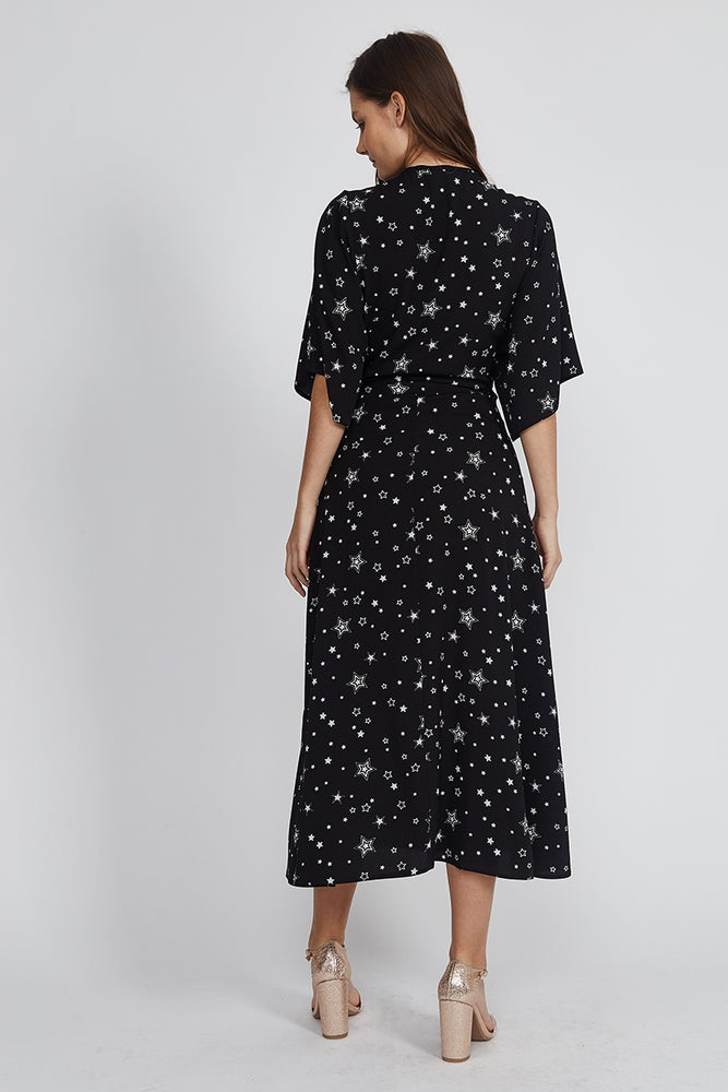 Liquorish Maxi Wrap Dress In Black Star Print