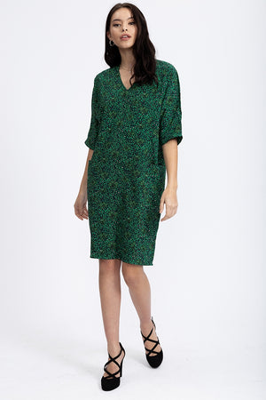 Divine Grace Relaxed Fit Shift Dress In Green Animal And Floral Print