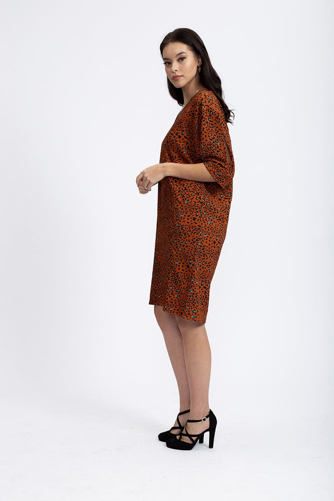 Divine Grace Relaxed Fit Shift Dress In Tuscany Terracotta Animal Print