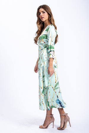 Liquorish Maxi Wrap Dress in Mint Green Bird Print