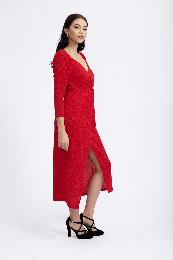 Divine Grace Jersey Midi Dress With Twisted Front in Red Jacquard