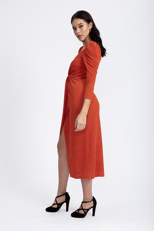 Divine Grace Jersey Midi Dress With Twisted Front in Terracotta Jacquard