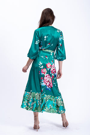 Liquorish Midi Wrap Dress in Green Floral Print and Contrast Hem