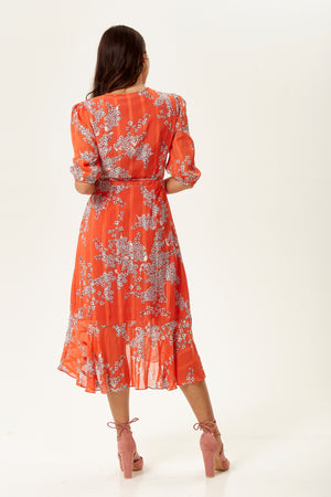 Liquorish Red Wrap Front Midi Floral Dress
