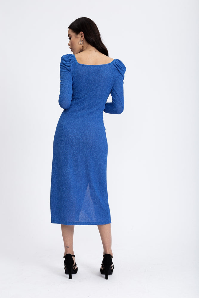 Divine Grace Jersey Midi Dress With Twisted Front in Blue Jacquard