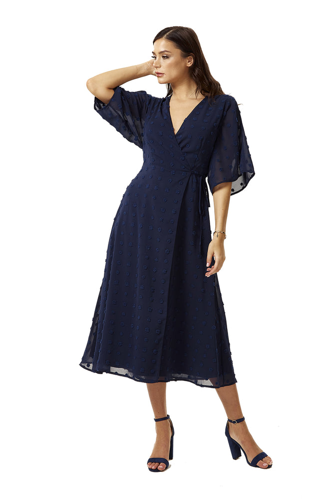 Navy Maxi Wrap Dress with Kimono Sleeves