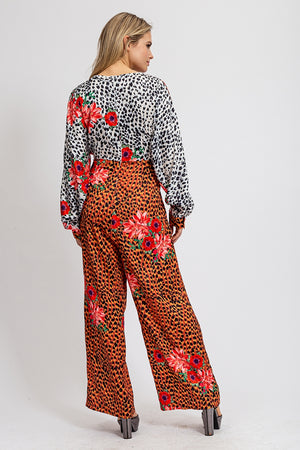 Liquorish Long Sleeve Wide Leg Jumpsuit in Animal & Floral print