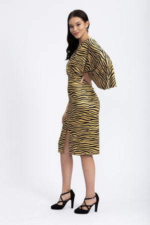 Divine Grace Midi Dress In Gold Zebra Print