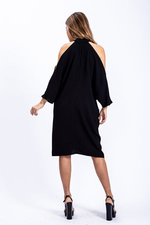 Liquorish Relaxed Fit Cold Shoulder Midi Dress In Black