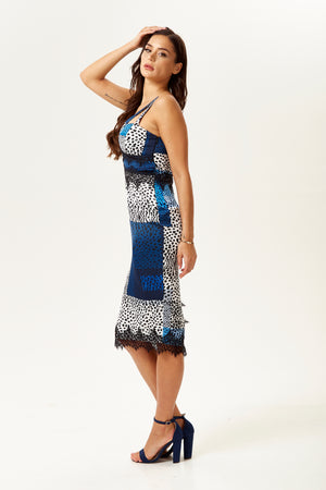 Liquorish Fitted Midi Dress With Lace Detail In Blue Square Leopard Print