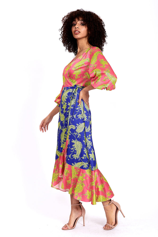 Liquorish Midi Wrap Dress in Contrasting Colours Paisley Print