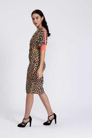 Divine Grace Midi Dress In Leopard Animal Print With Pink Tapes On Sleeves