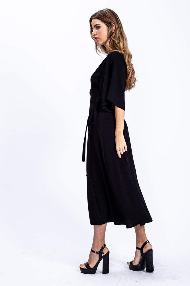 Liquorish Textured Midi Wrap Dress In Black