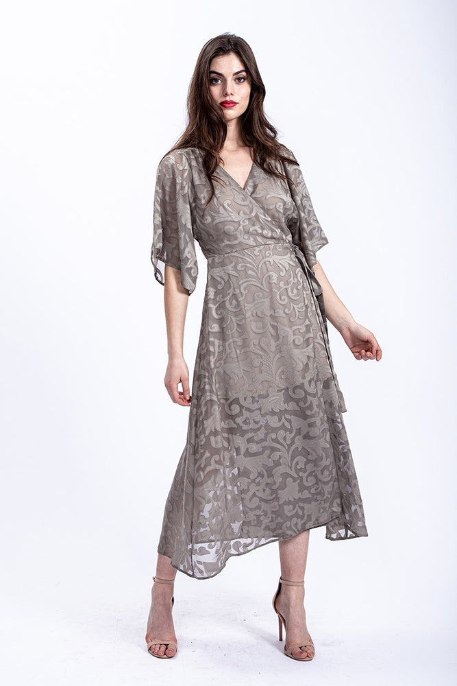 Liquorish Midi Wrap Dress with Kimono Sleeves in Khaki