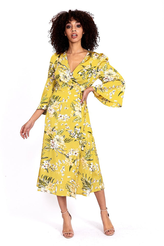 Divine Grace Midi Wrap Dress In Yellow Floral Print