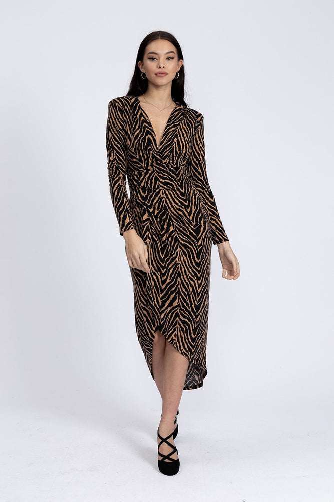 Divine Grace Midi Dress in Black And Brown Zebra Animal Print