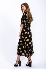 Liquorish Midi Wrap Dress with Kimono Sleeves In Black Sunflower Print