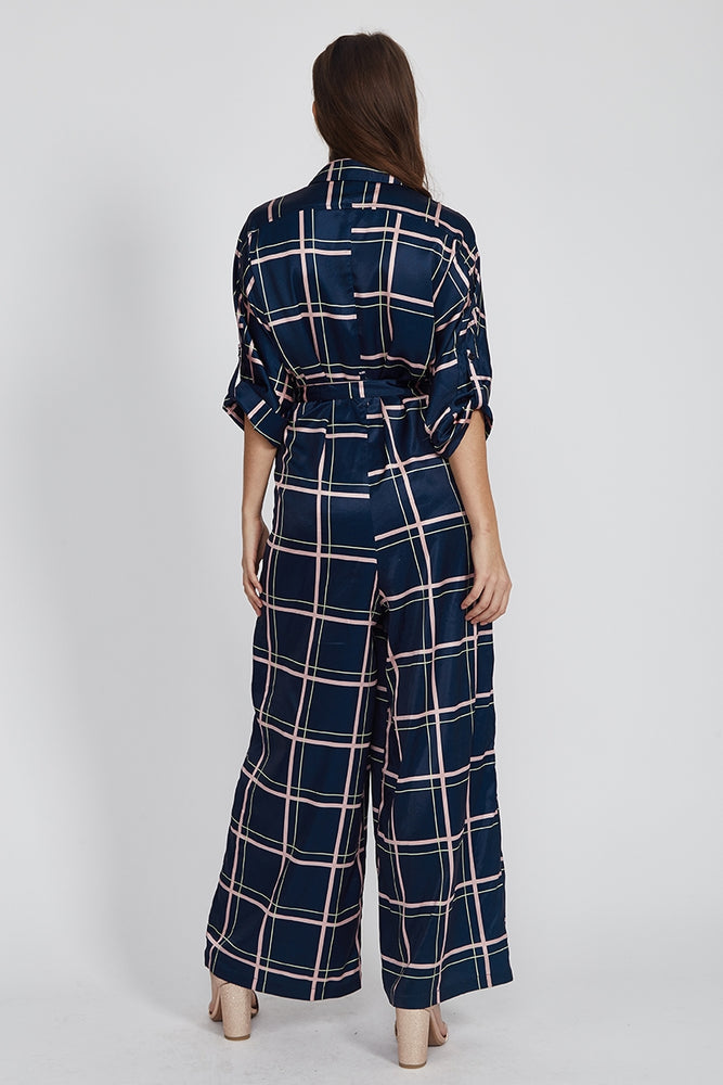 Liquorish Jumpsuit with Check Print in Navy