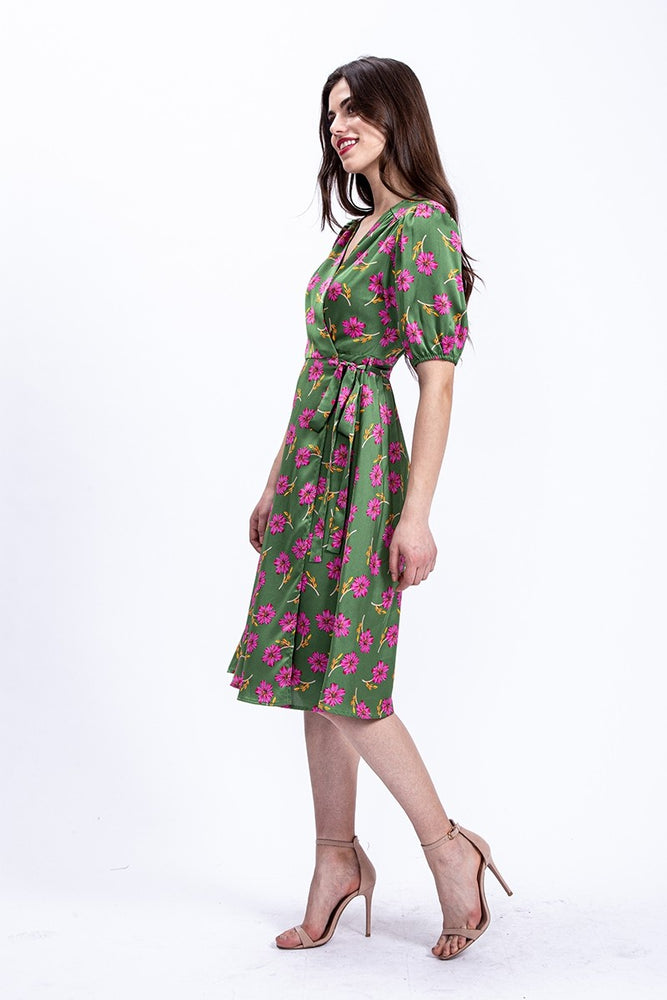 Liquorish Midi Wrap Dress in Green Floral