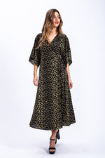 Liquorish Maxi Wrap Dress In Khaki Leopard Print